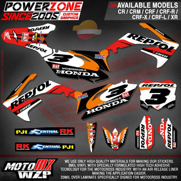 CRF250 CRF450 R X CR125 250 Customized  Graphics Backgrounds Repsol Custom Decals Stickers Motorcycle Dirt Bike Racing Kit