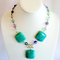 Amazonite and Rainbow Fluorite statement necklace, modern tribal gemstone necklace