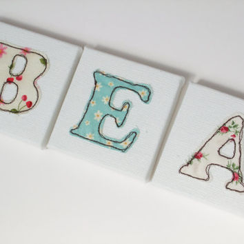Large Canvas Letters  20x20cm - Child's Name Letters - Nursery Decor - Machine Embroidered letters - Personalised