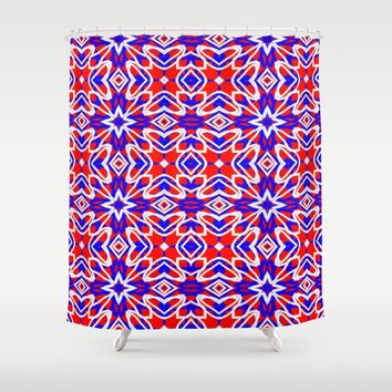 Red, White and Blue Crosses 243 Shower Curtain by Celeste Sheffey of Khoncepts