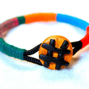 Wrap bangle, Rope Bracelet, bangle bracelet, colorful bangle, color block bracelet, statement bangle, tribal bracelet, polymer clay bracelet