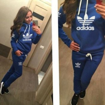 Blue Adidas Letters Long Sleeve Shirt Sweater Pants Sweatpants Set Two-Piece Sportswear