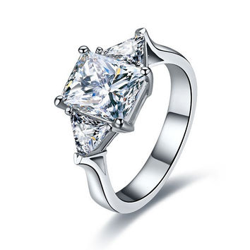 dossy Jewelry 3Ct Memorable NSCD Synthetic Diamond Engagement Wedding Ring for Women 925 Sterling Silver Platinum Plated Rings