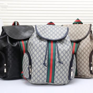 DCCK Gucci Men Casual Fashion Multicolor Stripe Classic Print Drawstring Backpack Large Capacity Travel Double Shoulder Bag