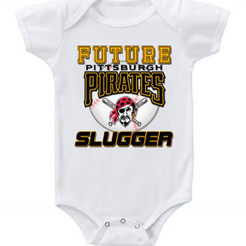 New Cute Funny Baby One Piece Bodysuit Baseball Future Slugger MLB Pittsburgh Pirates #6