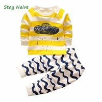 Stay Naive2017 autumn baby boy girl clothes Long sleeve Top + pants 2pcs sport suit baby clothing set newborn infant clothing