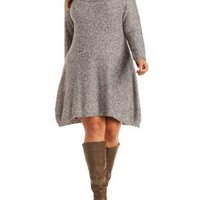 Plus Size Med Gray Combo Cowl Neck Sweater Dress by Charlotte Russe