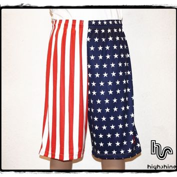 HIGHSHINE USA FLAG BASKETBALL SHORTS PANT NBA JORDAN US FLAG ROCKY APOLLO CREED