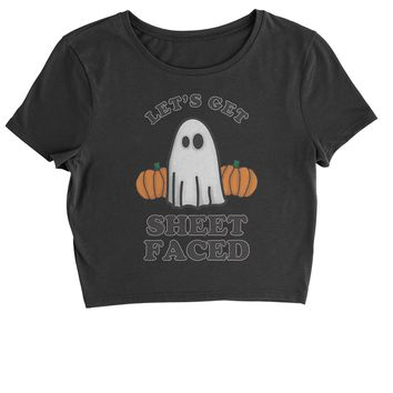 Let's Get Sheet Faced Ghost Cropped T-Shirt