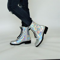 Lace Up Holo Combat Boot
