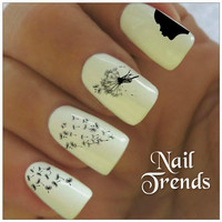 Dandelion Nail Decal. 20 Vinyl Stickers Nail Art