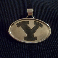 "Authentic Navajo,Native American,Southwestern sterling silver Hopi overlay BYU ""Y"" college logo pendant/necklace."