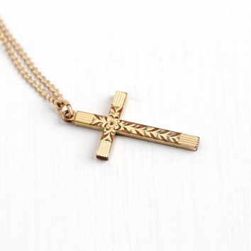 Vintage 12k Yellow Gold Filled Flower Cross Necklace - 1940s Crucifix Floral Religious Pendant on Gold Filled Chain Jewelry by LMFG Co