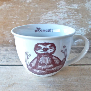 Mug, Namaste Baby Sloths, Tea cup style Sloth Meditation Teacup, 14 oz Coffee Mug, Recycled, Porcelain,  Ready to Ship