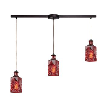 Giovanna 3 Light Linear Bar Fixture In Oil Rubbed Bronze With Wine Red Decanter Glass