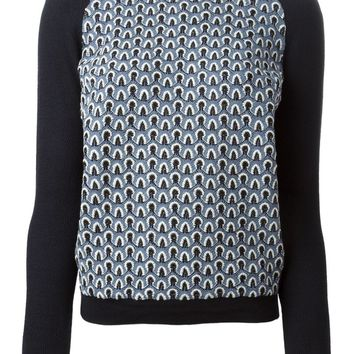 Tory Burch white collar printed sweater