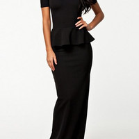Black Ruffled Floor-Length Dress