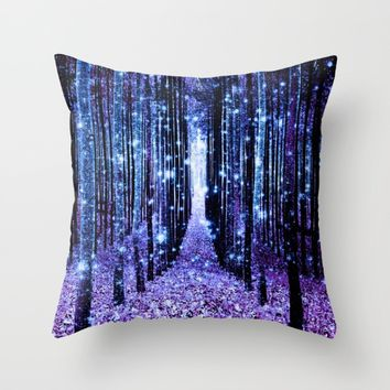 Magical Forest Turquoise Purple Throw Pillow by 2sweet4words Designs