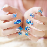 24pcs/set blue sapphire rhinestone diamond with glitter powder Nail Art Self-adhesive False Fake Nail Tips Stickers