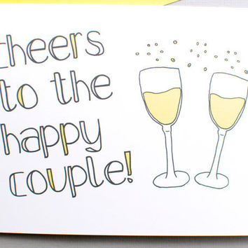 wedding card. engagement. anniversary card. Cheers to the happy couple. wedding day card. yellow. little sloth card