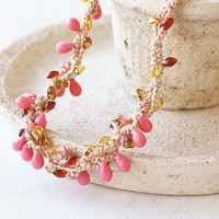 OOAK crochet necklace in coral pink, amber, cognac, beige - Boho chic - Bohemian jewelry - Gift for her - Spring fashion
