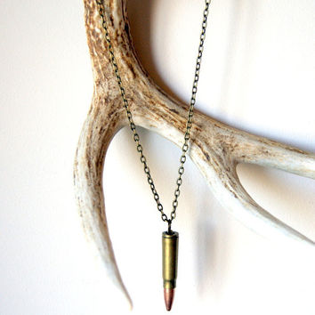 Bullet Necklace - vintage bullet, antiqued brass chain, men, military, unisex fashion, Father's Day Gift