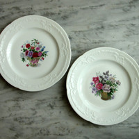 Vintage Signed Limoges Plates, Matching Set or Pair, White Flower Baskets, Embossed Scalloped Ribbon Edge, Instant Collection Limoges France
