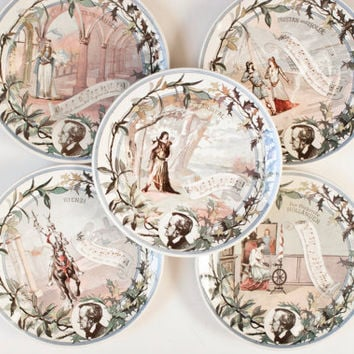 Antique Sarreguemines Wagner Opera Plate, French German Utzschneider Music Transferware, Rienzi, Hollander, Tannhauser, Parsifal
