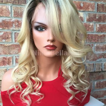 Dolly Light Blond Multi Parting Human Hair Full Lace Wig