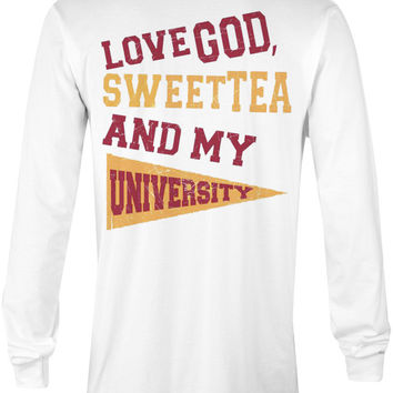 Love God, Sweet Tea and My University (Maroon/Orange)