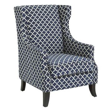 Alec Wing Chair - Navy Trellis