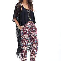 FOREVER 21 Watercolor Floral Joggers Burgundy/Teal