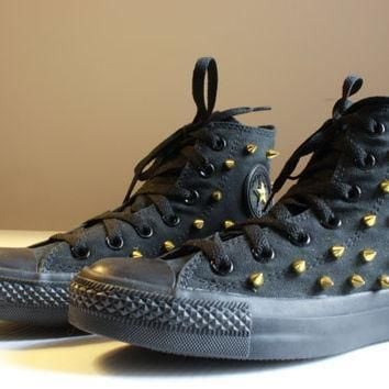 gold spiked black converse high tops size women s 6 5 free us shipping