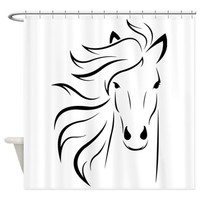 STYLIZED HORSE PORTRAIT SHOWER CURTAIN