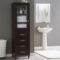 Espresso Bathroom Linen Storage Cabinet with Glass Paneled Door