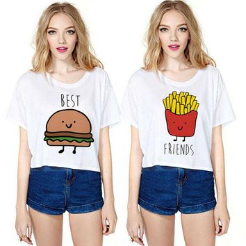 2017 Summer Fashion T-Shirt Women Sexy Short Sleeve Round Neck Crop Tops Tunic Casual Print Best Friends T Shirt Camiseta Mujer