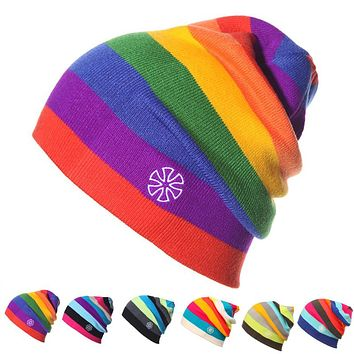GeMay Assorted Colorful Stripes Winter Knitted Hats for Men and Women