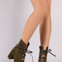 Shoe Republic LA Suede Lace Up Chunky Heeled Ankle Boots