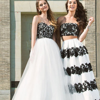 COLORS 1497 White Black Mikado Lace Two Piece Prom Dress