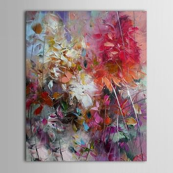 100% Hand-painted Abstract Oil Paintings Colorful Flowers Canvas Decor 16x20""