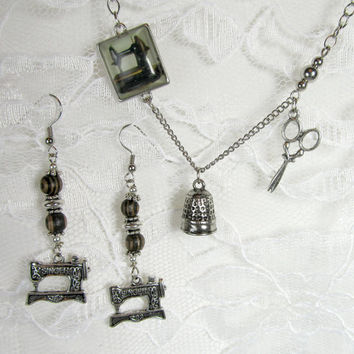 Seamstress Jewelry Set - Sewing Gift, Necklace, Earrings - Singer Machine Scissors Silver