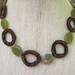 stitched beaded necklace-circle necklace-hand stitched necklace-brown and green necklace,gemstone necklace