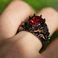 Shop Dixi Boho Ring | Gothic Empire Blood Red Ring