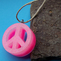 Glowing Pink Peace Necklace