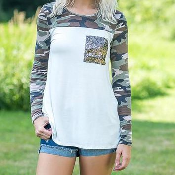 New White Camouflage Print Sequin Pockets Long Sleeve Casual Fashion Comfy T-Shirt