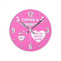 Coffee and Friends pink clock