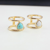 18K Gold Plated 2015 New Fashion Geometric Arrow Shape Turquoise White Faux Marble Stone Ring for Women