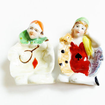 Antique Porcelain Pin Trays, Trinket Dish , Vintage Collectible , Figural , Ace Of Spades , Red Diamond , Porcelain Clown , Ash Trays