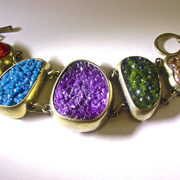 Chunky Druzy Bronze Bracelet, Multi Color Gems, Toggle, Vintage