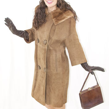 Vintage Suede Coat with Mink Collar